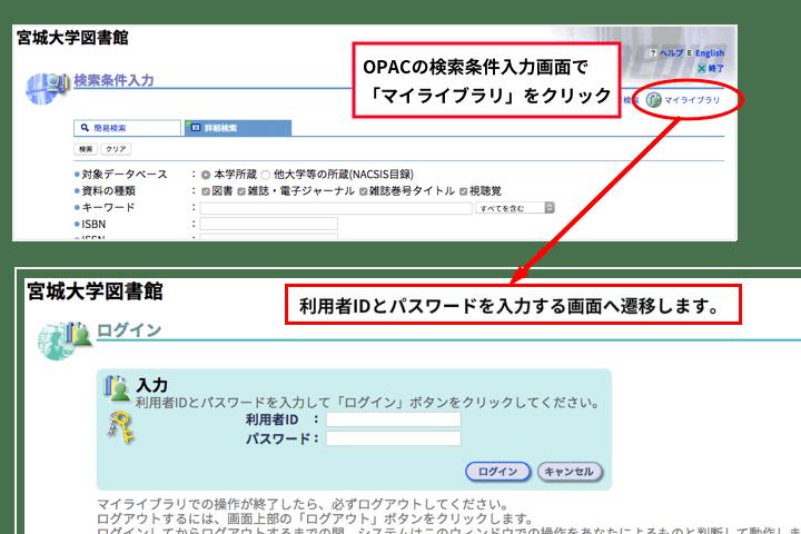 画像:OPACの検索条件入力画面